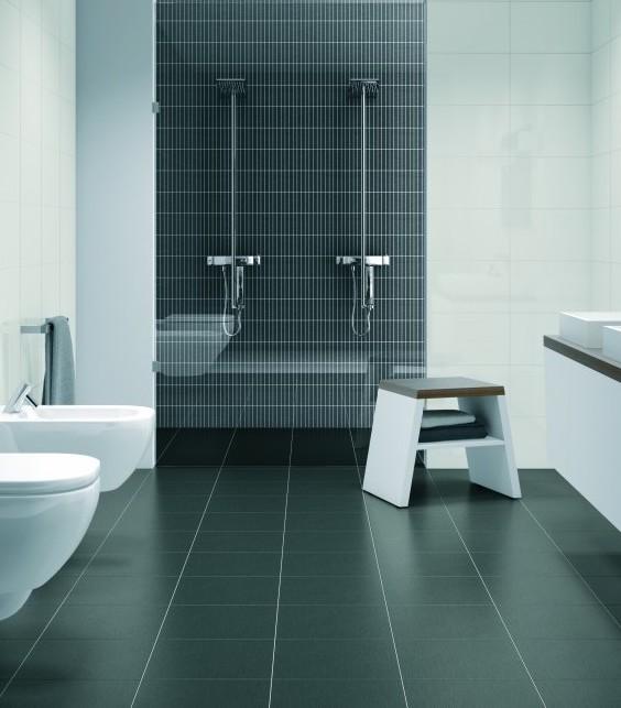 Donkere vloer in de badkamer